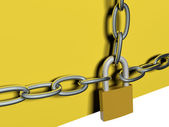 Chain and lock, 3D — Stock Photo