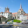The historic center of Laussane, in Switzerland - Stock Photo