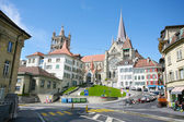 The historic center of Laussane, in Switzerland — Stock Photo