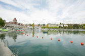 Ouchy port and Chateau, Lausanne, Switzerland — Stock Photo