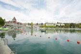 Ouchy 端口和城堡,洛桑,瑞士 — 图库照片