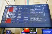 Board schedules of trains and arrives at the station — Stock Photo