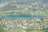 View from Monte Generoso down to Lugano and its lake in Switzerl — Stock Photo