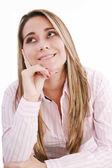 Considerado mujer latina mirando hacia arriba - aislado en blanco — Foto de Stock