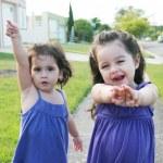 Beautiful little girls enjoying outside — Stock Photo