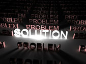 Solution concept, solution word illuminated — Zdjęcie stockowe