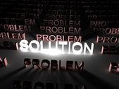 çözüm kavramı, ışıklı çözüm word — Stok fotoğraf