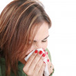 Sick woman with tissue on white — Stock Photo #8615004
