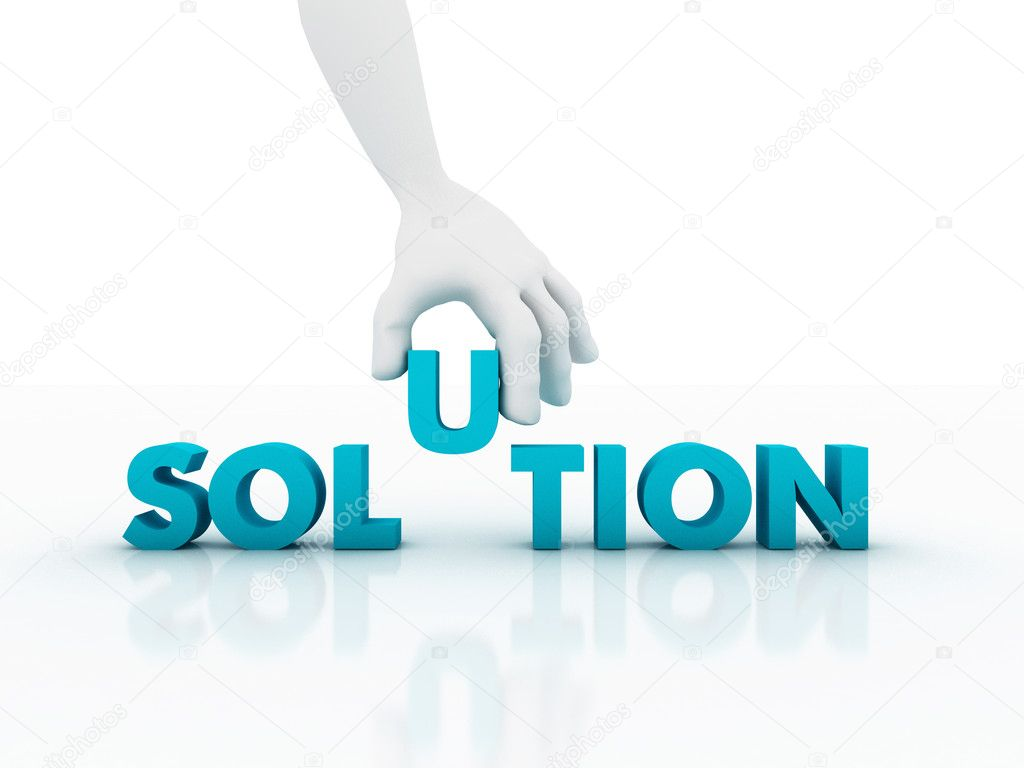 3d Hand and word Solution, business concept — Stock Photo #8615031