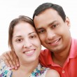 Young happy couple love smiling, looking at camera, isolated ove — Stock Photo