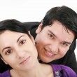 Close-up of beautiful young couple isolated on white background — Stock Photo