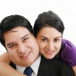 Portrait of a beautiful young happy smiling couple - isolated — Stock Photo