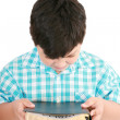 Portrait of a boy with a Bible in hand and prayed — Stock Photo #9245664