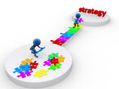 Business team work building a puzzle. Business strategy concept. — Stock Photo