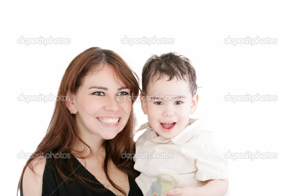 Bright picture of happy mother and little son over white  Stock Photo #9241484