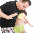 Angry father hitting her little baby daughter — Stock Photo #9417196