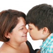 Mother and son about to kiss - isolated over white — Stock Photo #9418071