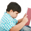 Young boy tries to do his homework — Foto Stock