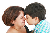 Mother and son about to kiss - isolated over white — Stock Photo