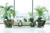 Sofas overlooking sea in Playa Bonita, Panama. — Stock Photo