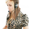 Headshot of beautiful customer service operator woman with heads — Stock Photo #9699986