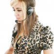 Headshot of beautiful customer service operator woman with heads — Stock Photo
