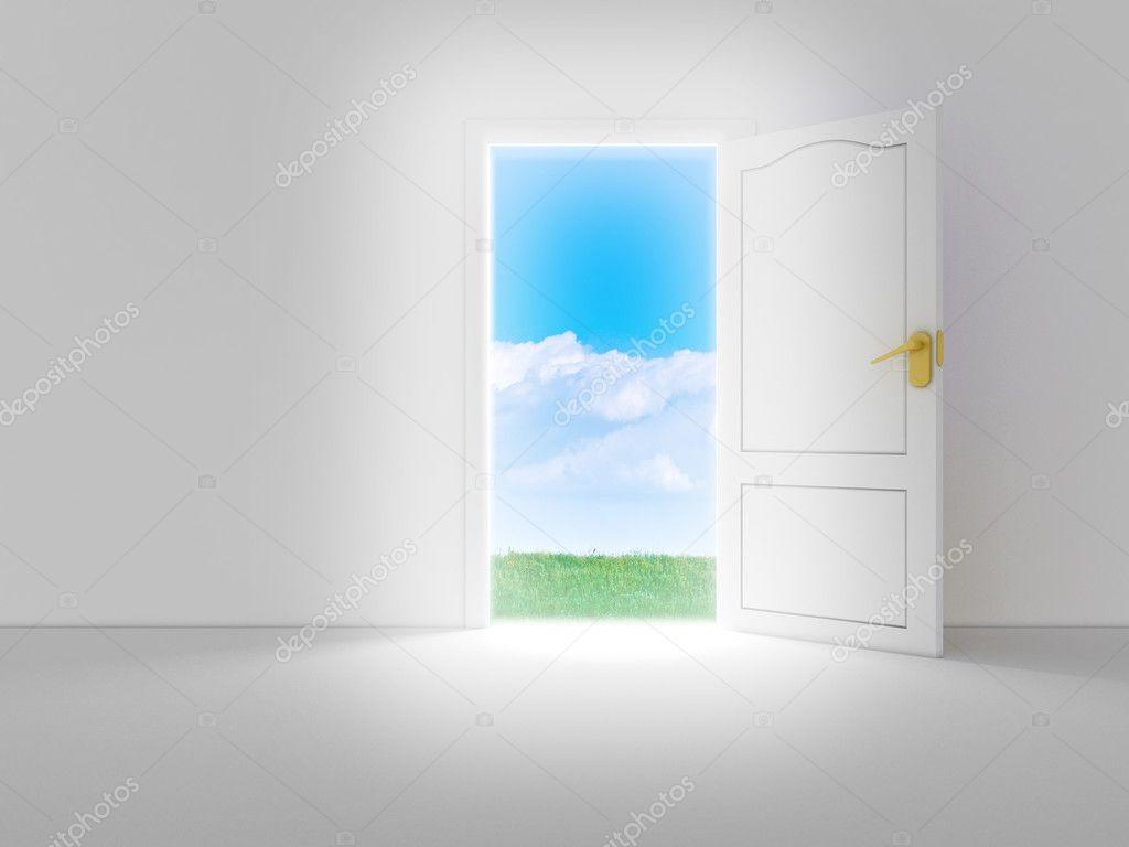 Vide chambre blanche avec porte ouverte et belle vue, 3d render ...
