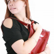 Woman getting her mace to protect herself from the thug who is a — Stock Photo