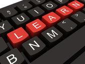 Tastiera del computer con chiave imparare, concetto di educazione internet — Foto Stock