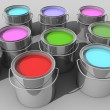 Paint buckets with various colored paint — Stock Photo
