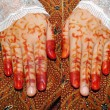 Stock Photo: Traditionally bride's hand tattoo womIndonesia