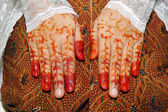 Traditionellt brudens hand tattoo kvinna indonesien — Stockfoto