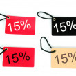 Four types of fifteen percent red paper tag — Foto Stock