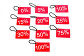Different red tags with the percentage level — Stock Photo