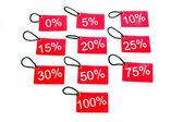 Olika röda taggar med procentuell nivå — Stockfoto