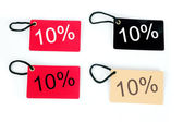 Four types of ten percent paper tag — Stock Photo