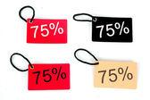 Fyra typer av sjuttiofem procent papper tag jag — Stockfoto