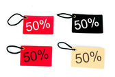 Four types of fifty percent paper tag — Stock Photo