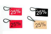 25% の 4 種類の紙のタグ — ストック写真