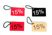 Four types of fifteen percent red paper tag — Stock Photo