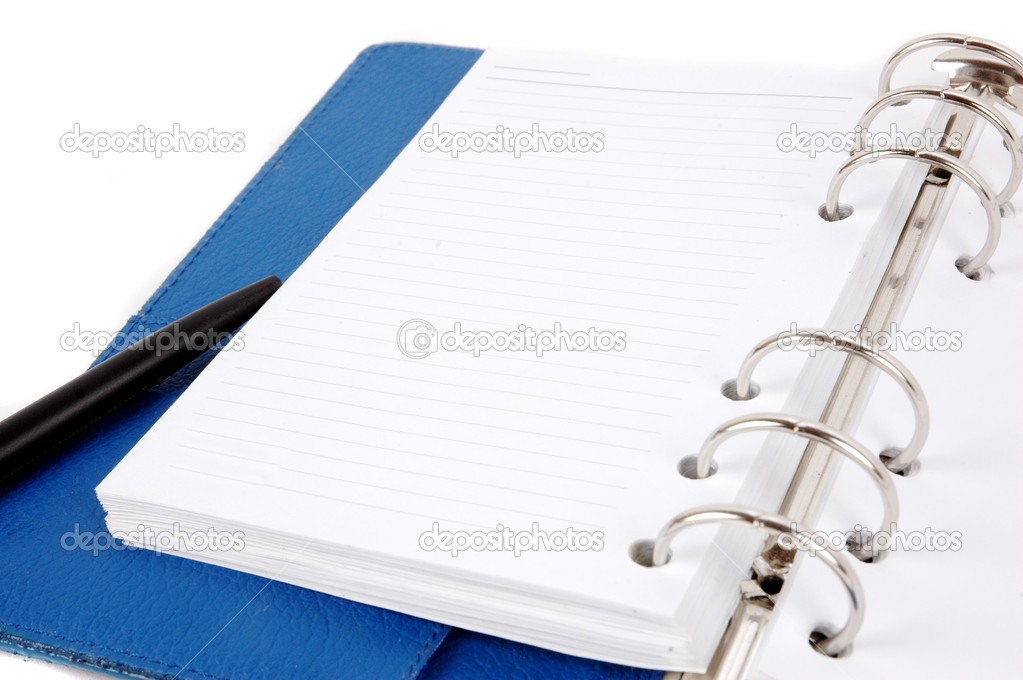 An opened blue leather notebook and black pen isolated on white background — Stock Photo #8353292