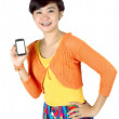 A beautiful woman shows a touch screen mobile phone in his hand — Stock Photo