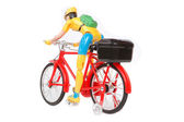 Plastic toys cyclists — Stock Photo