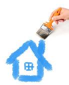 手用画笔绘图的房子. — Stockfoto