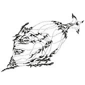 Abstract stylized B&W fish — Stok Vektör