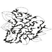 Abstract stylized B&W hedgehog in leaves — Stock Vector