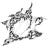 Abstract stylized B&W yawning sparrow — ストックベクタ
