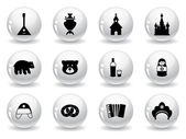 Web buttons, russian icons — Stock Vector