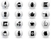 Web buttons, coffee icons — Stock Vector