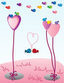 Valentine birds — Stock Vector
